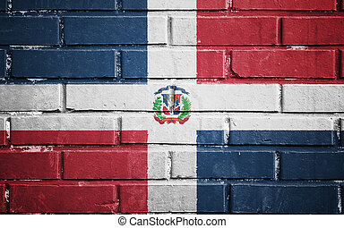 Dominican republic flag on brick wall - Dominican republic...
