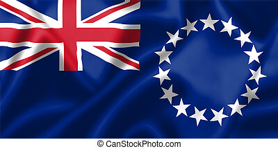 The Cook Islands flag blowing in the wind. Background...