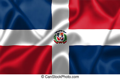 The Dominican Republic flag blowing in the wind Background...