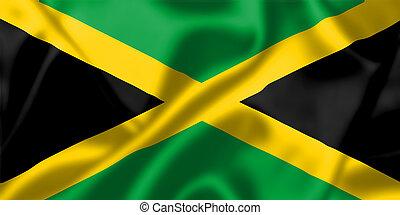 jamaica, bandera, Soplar, viento