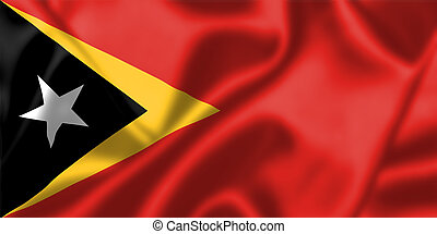 East Timor flag blowing in the wind