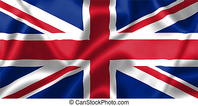 United Kingdom flag blowing in the wind. Background texture.