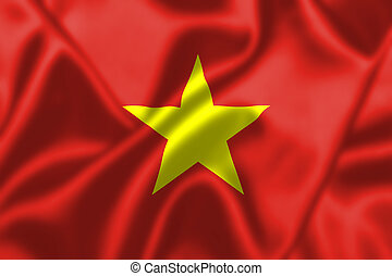 Vietnam flag blowing in the wind Background texture