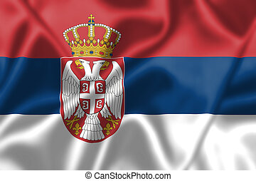 Serbia flag blowing in the wind Background texture