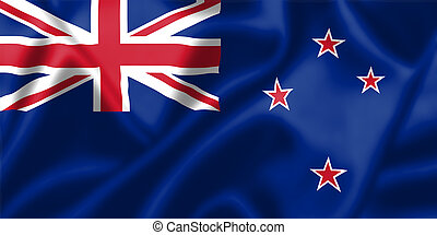 New Zealand flag blowing in the wind Background texture