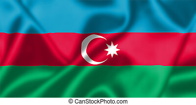 Azerbaijan flag blowing in the wind. Background texture.