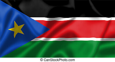 South Sudan flag blowing in the wind Background texture