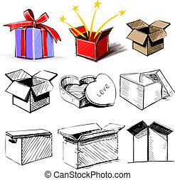 Present boxes collection - Store present boxes set. Hand...