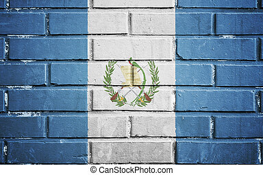guatemala, bandera, ladrillo, pared