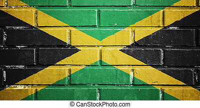 jamaica, bandera, ladrillo, pared