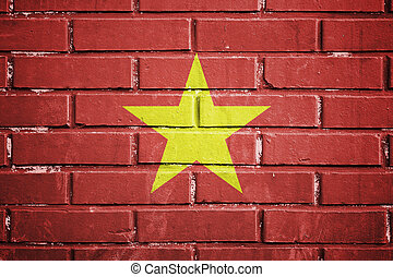 Vietnam flag on a textured brick wall - Vietnam flag on the...