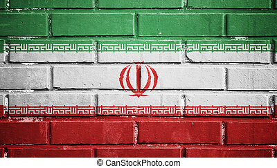 Iran flag on brick wall - Iran flag on texture brick wall