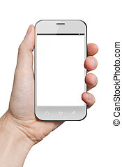 isolated male hand holding a white phone tablet touch...