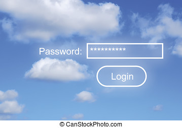 Internet security concept with password text over cloudy...