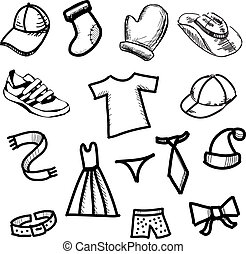 Clothes simple shapes collection - Fashion clip art Hand...
