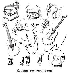 Musical instruments and icons collection - Set of music...