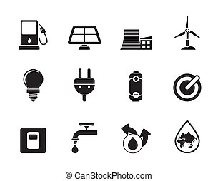 Ecology, power and energy icons - Silhouette Ecology, power...