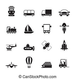 Transportation and travel icons - Silhouette Transportation,...