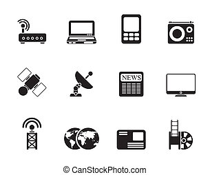 Business and technology icons - Silhouette Business,...