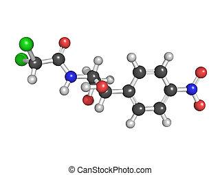 Chloramphenicol, antibiótico, droga, químico,...