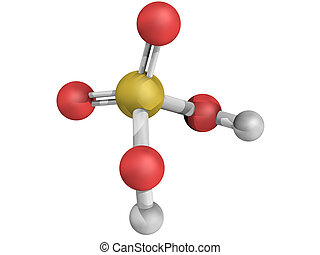 Chemical structure of sulfuric acid H2SO4, oil of vitriol...