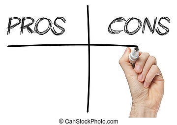 pros and cons columns - close up of chalkboard with pros and...
