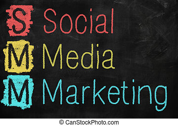 Social media marketing concept written on a blackboard