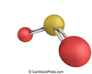 Chemical structure of sulfur dioxide (sulphur dioxide, SO2)...