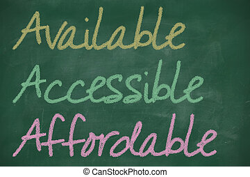 AAA for available, accessible and affordable written on...