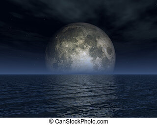 luna - full moon and ocean landscape - 3d illustration