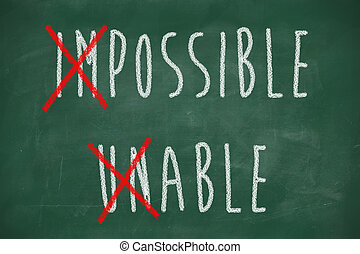 positive thinking concept handwritten impossible unable -...