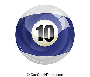 Billiard ball number 10 isolated on white
