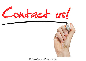 Hand writing Contact Us with red marker on transparent wipe...