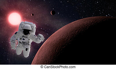 Small planetary system with astronaut in space - High...