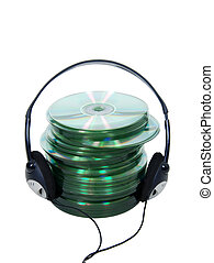Audio CDs - Headphones for listening to information or music...