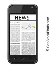 mobile phone with news on the screen