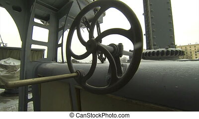 Naval equipment cruiser Aurora. Wheel for the ascent and...