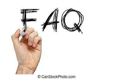 FAQ frequently asked questions written on whiteboard