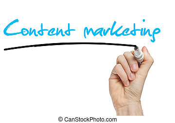 Hand writing Content Marketing with blue marker on...