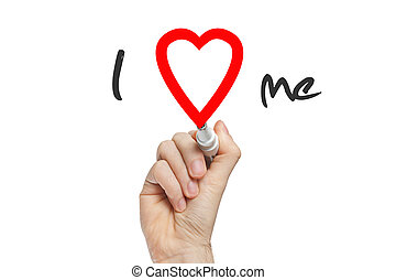 I Love me - Hand writing I Love Me with red marker on...