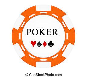 Single orange casino chip isolated on white background