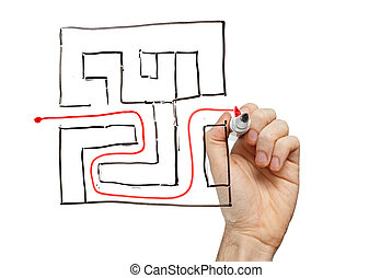 Man drawing the way out through a maze