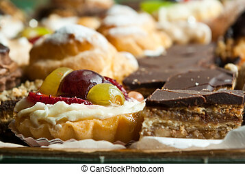 fruit and chocolate pastries