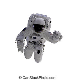 Flying astronaut on a white background. Some components of...
