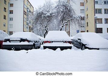 cars under snow in zagreb