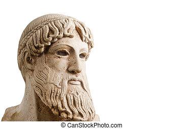 Grego, Deus, metade, perfil, horizontais