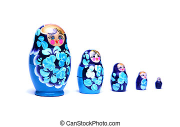 russian nesting dolls babushka in line