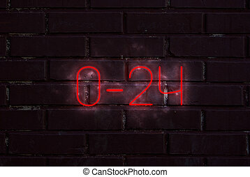 0-24 non stop - neon 0-24 sign on a brick wall