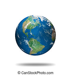 globe illustration made using real geographical data - view of north and south america