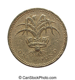 Pounds - One Pound coin isolated over white background